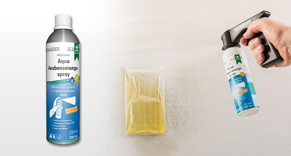 wandfarbe in der spraydose aqua ausbesserungsspray jaeger. Black Bedroom Furniture Sets. Home Design Ideas